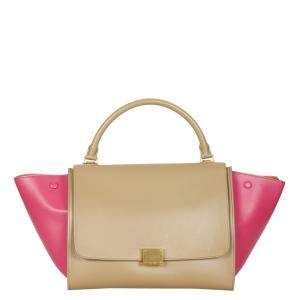 Celine Brown/Pink Leather Trapeze Bag