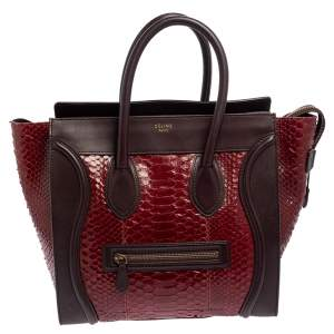 Céline Red/Burgundy  Python and Leather Mini Luggage Tote