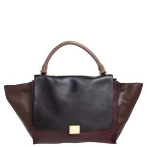 Celine Tri Color Leather Medium Trapeze Top Handle Bag