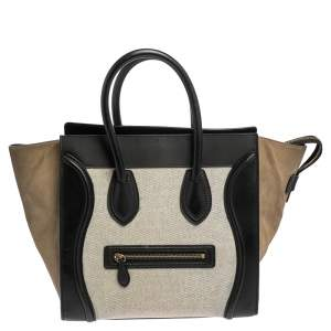 Celine Tri Color Leather, Suede, and Canvas Mini Luggage Tote