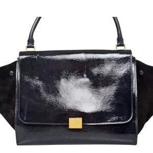 Celine Black Patent Leather Trapeze Bag