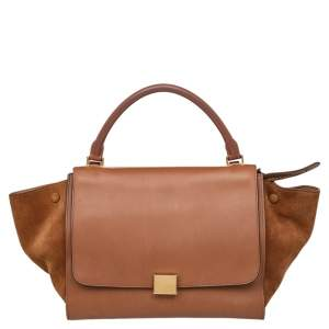 Celine Brown Leather And Suede Medium Trapeze Top Handle Bag