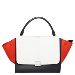 Celine Multicolor Calf Hair and Leather Medium Trapeze Top Handle Bag