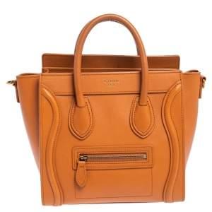 Celine Caramel Brown Leather Nano Luggage Tote