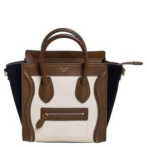 Celine Tricolor Leather and Suede Nano Luggage Tote