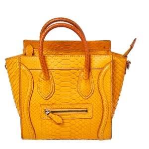 Celine Mustard Python Nano Luggage Tote
