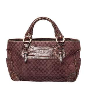 Celine Brown/Purple Macadam Suede and Croc Embossed Leather Boogie Tote