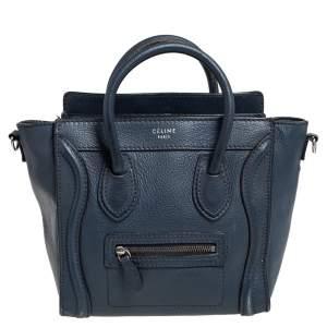 حقيبة يد توتس سيلين نانو لاغيدج جلد أزرق كحلي