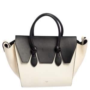 Celine White/Black Leather Mini Tie Tote