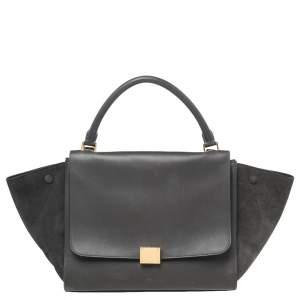 Celine Dark Grey Leather and Suede Medium Trapeze Top Handle Bag