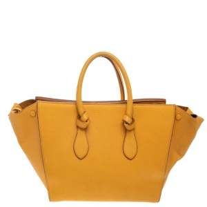 Celine Yellow Leather Small Tie Tote