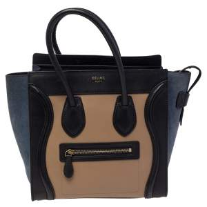 Celine Tri Color Leather and Suede Micro Luggage Tote