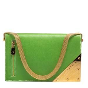 Celine Green Leather Flap Clutch