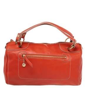 Celine Orange Leather Front Zip Satchel