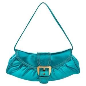 Celine Metallic Blue Leather Baguette Bag