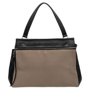 Celine Black/Beige Leather Large Edge Top Handle Bag