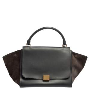 Celine Black Leather And Brown Suede Medium Trapeze Top Handle Bag