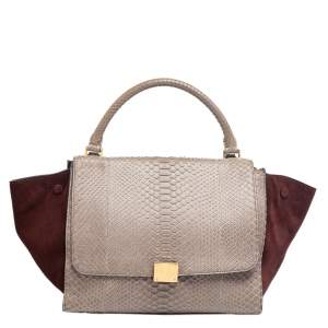 Celine Brown/Grey Python Leather And Suede Medium Trapeze Top Handle Bag