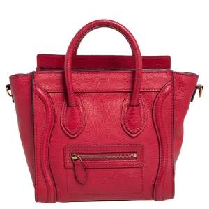 Céline Red Grained Leather Nano Luggage Tote