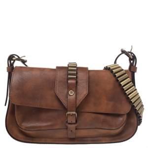 Celine Brown Leather Flap Shoulder Bag