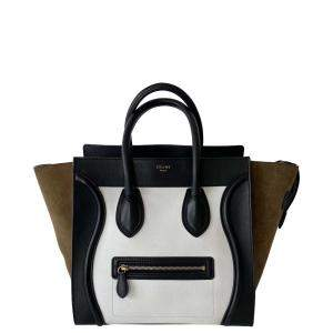 Celine Tricolor Leather Mini Luggage Tote Bag