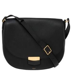 Celine Black Leather Medium Trotteur Shoulder Bag