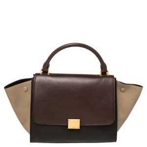 Celine Tri Color Leather Mini Trapeze Top Handle Bag
