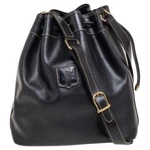 Celine Black Leather Drawstring Bucket Bag