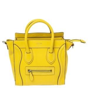 Celine Yellow Leather Nano Luggage Tote