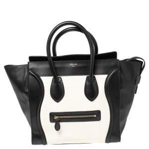 Celine White/Black Leather Mini Luggage Tote
