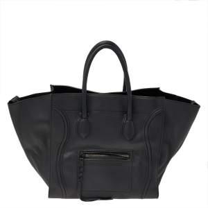 Celine Black Leather Large Phantom Luggage Tote