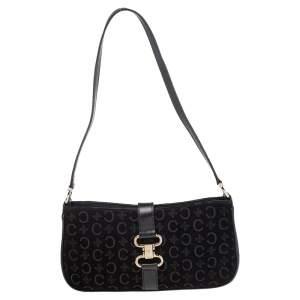 Celine Black Suede And Leather Macadam Shoulder Bag
