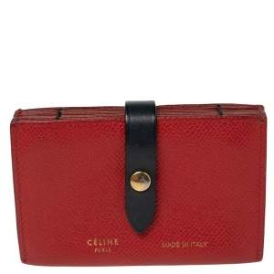Celine Red Leather Accordeon Card Holder