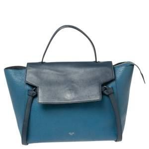 Celine Two Tone Blue Leather Mini Belt Top Handle Bag