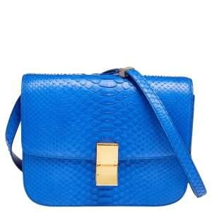 Celine Blue Python Medium Classic Box Shoulder Bag