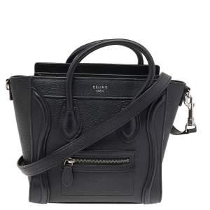 Céline Black Leather Nano Luggage Tote