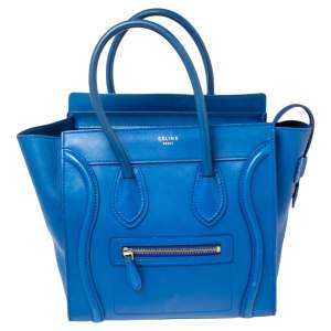 Celine Blue Leather Micro Luggage Tote