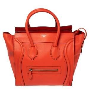 Celine Vermillon Red Leather Mini Luggage Tote