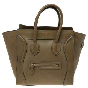 Celine Green Leather Luggage Mini Bag