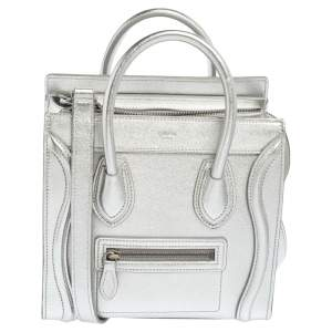 Céline Metallic Silver Leather Nano Luggage Tote