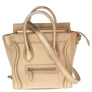 Céline Metallic Gold Leather Nano Luggage Tote