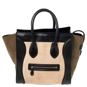 Celine Tri Color Leather and Nubuck Mini Luggage Tote
