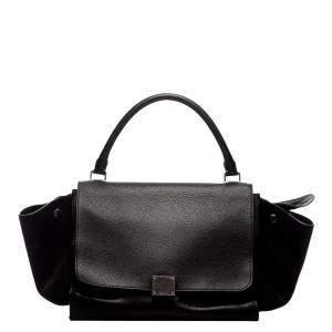 Celine Black Leather Medium Trapeze Bag