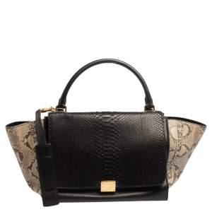 Celine Tri Color Leather and Python Medium Trapeze Top Handle Bag