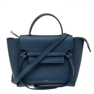 Celine Blue Leather Micro Belt Top Handle Bag