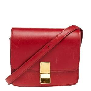 Celine Red Leather Small Classic Box Flap Bag