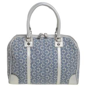 Celine Silver/Blue Macadam Fabric and Leather Satchel
