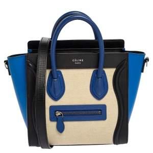 Céline Tri Color Leather and Canvas Nano Luggage Tote