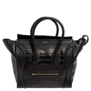 Celine Black Leather and Alligator Mini Luggage Tote