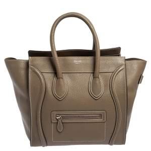Celine Khaki Green Leather Mini Luggage Tote